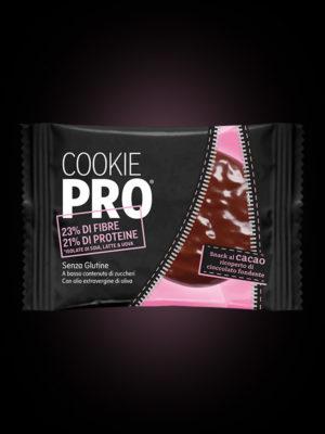 Cookie Pro al cacao ricoperto di cioccolato fondente x24